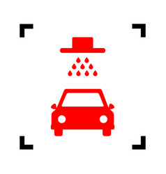 car wash sign red icon inside black focus vector image