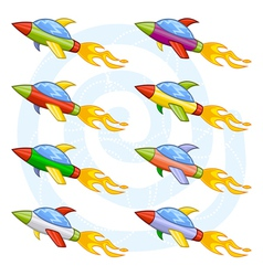 cartoon space shuttles or space rockets vector image vector image