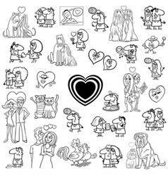 cartoon valentines characters large set vector image