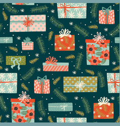 Christmas and happy new year seamless pattern with vector
