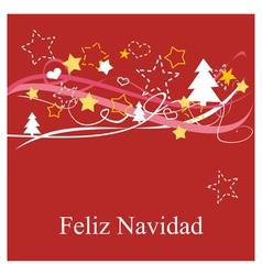 Christmas card in espanol Feliz Navidad vector