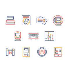 city underground transport color line icons vector image