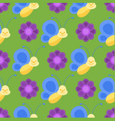 colorful butterflies seamless pattern decorative vector image