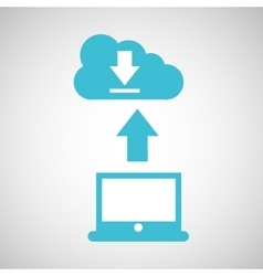 Computer connected cloud download vector