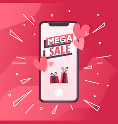 Concept with mobile phone with love messages vector