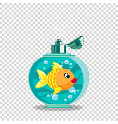 Cute cartoon goldfish in soap bottle isolated on vector