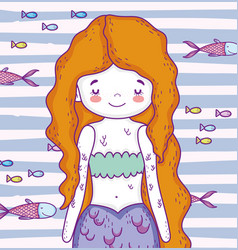 Cute mermaid woman with hairstyle and fishes vector