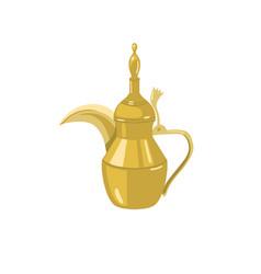 dallah - traditional golden arabic teapot metal vector image