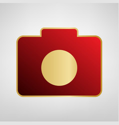 Digital camera sign red icon on gold vector