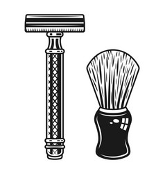 Double edged razor and shaving brush objects vector