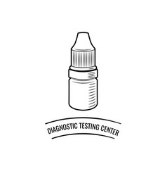 Drop bottle diagnostic testing center lettering vector