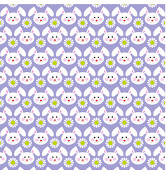 easter bunny faces pattern on purple vector image