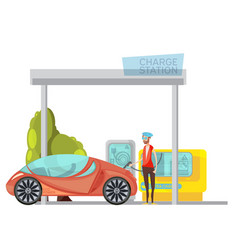 Electro car flat vector