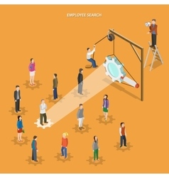 Employee search flat isometric concept vector
