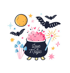 Fairy pot with boiled love potion decorated vector