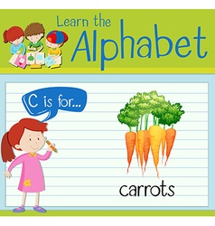 Flashcard letter C is for carrots vector image