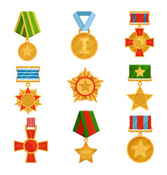 Flat set of military medals with colorful vector