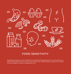 food sensitivity concept banner in line style vector image