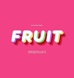 Fresh fruit 3d bold colorful style modern vector