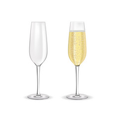 Glass of sparkling wine champagne with bubbles vector