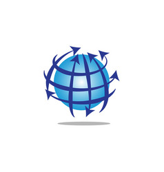 Globe with lines and arrows vector