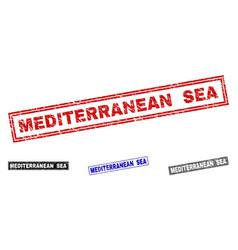 Grunge mediterranean sea textured rectangle vector