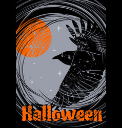 grungy halloween background with flying raven vector image