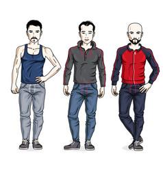 Happy men group standing in stylish sportswear vector