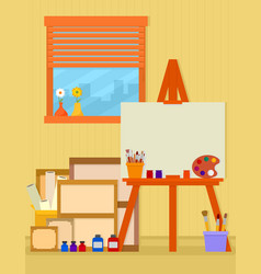 Home art studio interior for artist vector