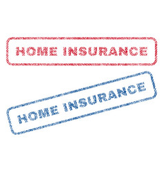 Home insurance textile stamps vector