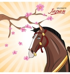 Horse cartoon of Japan design vector image
