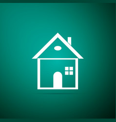 house icon on green background home symbol vector image
