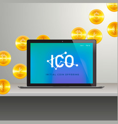 Ico laptop with abstract ico interface on screen vector