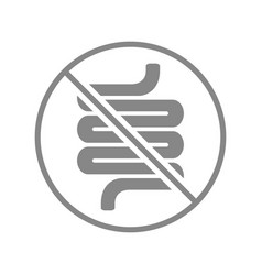 Intestine with prohibition sign grey icon vector