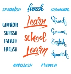 Learn Engish Calligraphic font Unique Custom vector image