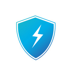 lightning and shield symbol protect logo template vector image