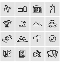 line travel icon set vector image