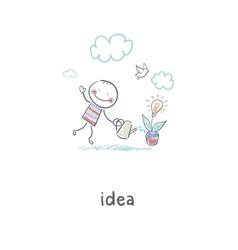 Man grows idea vector image