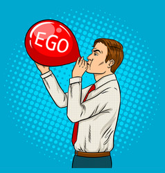 Man inflate ego balloon pop art vector
