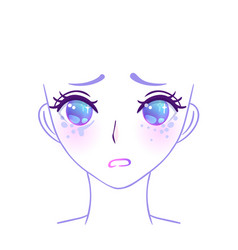 manga face colorful eyes in anime style with vector image