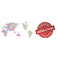 Migration collage of mosaic map of earth and vector