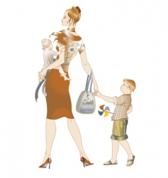 Mother and children walking vector