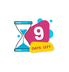 Nine days left countdown with timer and vector