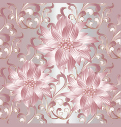 pink 3d flowers seamless pattern vector image