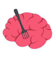 pink brain with fork icon isolated vector image