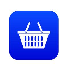 plastic shopping basket icon digital blue vector image