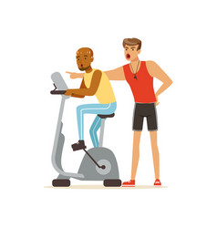 Professional fitness coach and man working out on vector