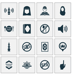 Ramadan icons set collection of abend person vector