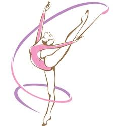Rhythmic gymnast with a ribbon vector