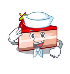 sailor strawberry cake character cartoon vector image